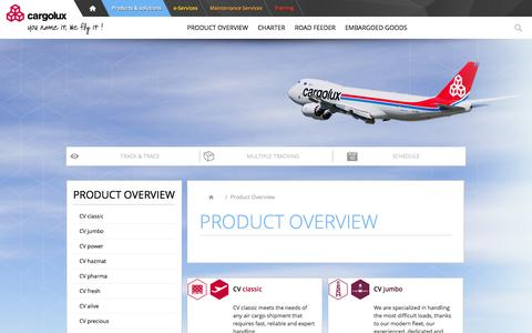 Screenshot of Products Page cargolux.com - Product Overview          - Cargolux - captured Oct. 24, 2016