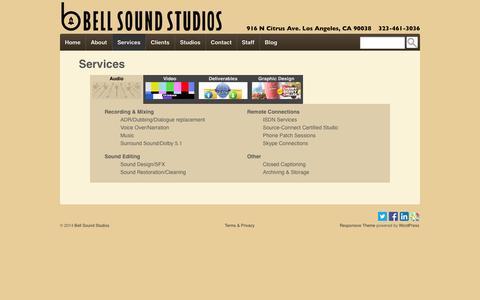 Screenshot of Services Page bellsound.com - Services | Bell Sound Studios - captured Oct. 5, 2014