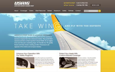 Screenshot of Home Page About Page Contact Page Press Page Jobs Page Site Map Page Terms Page usau.com - An Aviation Insurance Company - USAIG - captured Oct. 3, 2014
