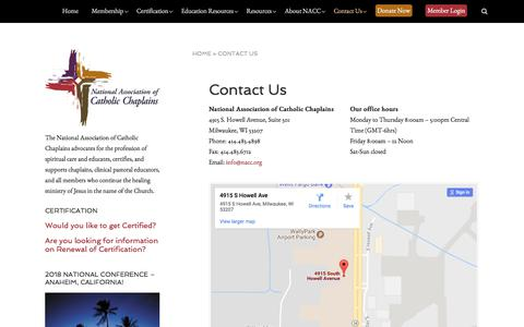 Screenshot of Contact Page nacc.org - Contact Us - The National Association of Catholic Chaplains - captured Oct. 19, 2017