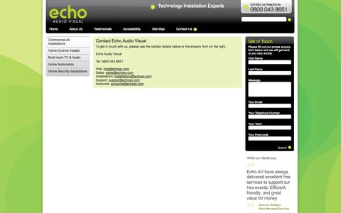 Screenshot of Contact Page technologyinstall.com - Echo Audio Visual - captured Oct. 1, 2014