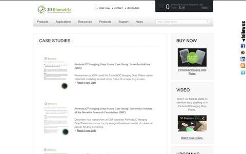 Screenshot of Case Studies Page 3dbiomatrix.com - Case Studies - 3D Biomatrix - captured Sept. 10, 2014