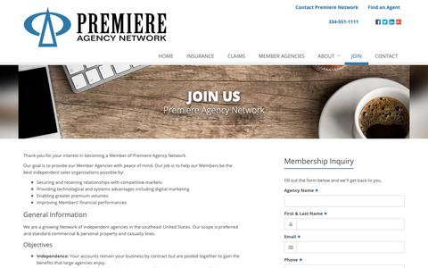 Screenshot of Signup Page premiereagencynetwork.com - Premiere Agency Network Membership Benefits | Premiere Agency Nework in Montgomery, Alabama - captured Sept. 29, 2018