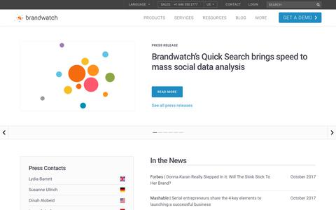 Screenshot of Press Page brandwatch.com - Press Hub | Brandwatch - captured Oct. 20, 2017