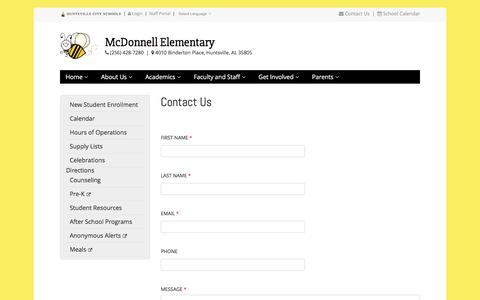 Screenshot of Contact Page huntsvillecityschools.org - Contact Us | McDonnell Elementary | Huntsville City Schools - captured Jan. 3, 2017