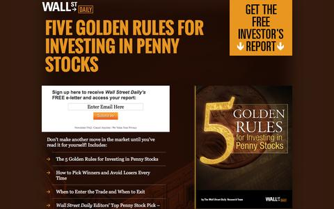 Screenshot of Landing Page wallstreetdaily.com - Five Golden Rules for Investing in Penny Stocks - captured Dec. 21, 2015
