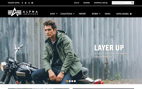 Screenshot of Home Page alphaindustries.com - Alpha Industries | Authentic Flight Jackets, Vintage Field  Coats and Casual Wear - captured Oct. 1, 2015