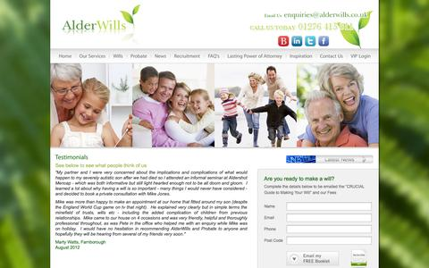 Screenshot of Testimonials Page alderwills.co.uk - Wills testimonials, Alder wills review, Testimonials for wills writing - captured Oct. 4, 2014