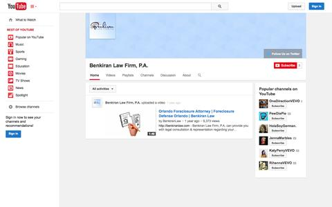 Screenshot of YouTube Page youtube.com - Benkiran Law Firm, P.A.  - YouTube - captured Nov. 3, 2014