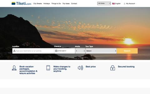 Screenshot of Home Page tiketi.com - Holidays & Short Breaks, Accommodation and Activities - Tiketi.com - captured Jan. 27, 2017