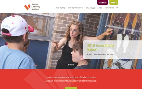 Screenshot of Home Page jewishlearningventure.org - Jewish Learning Venture - captured Sept. 20, 2018