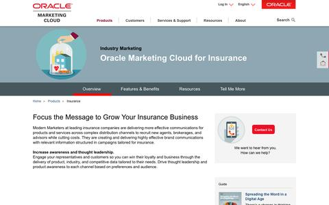 Screenshot of oracle.com - Insurance | Industry Marketing | Oracle Marketing Cloud - captured April 14, 2016