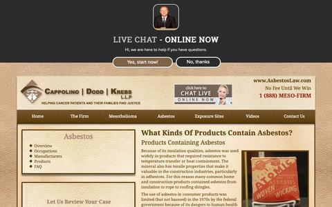 Screenshot of Products Page asbestoslaw.com - What Kinds of Products Contain Asbestos? | Products Containing Asbestos - captured Oct. 23, 2018