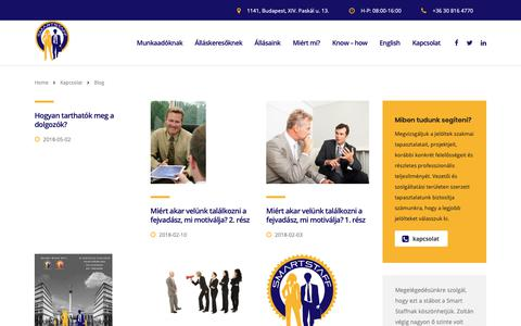 Screenshot of Blog smartstaff.hu - Blog - Smart Staff - captured Oct. 19, 2018