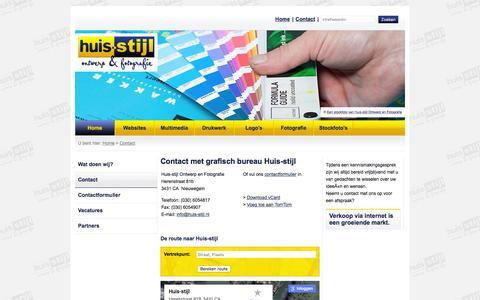 Screenshot of Contact Page huis-stijl.nl - Contact opnemen > Huisstijl Ontwerp en Fotografie, grafisch ontwerpbureau Nieuwegein / Utrecht - captured Feb. 1, 2016
