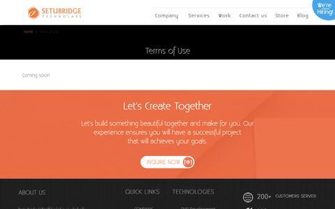 Screenshot of Terms Page setubridge.com - Terms of Use - SetuBridge Technolabs - captured Dec. 12, 2018