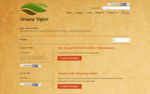 Screenshot of Press Page gruenevapor.com - e-Cig reviews and site news                           | Gruene Vapor - captured Sept. 30, 2014