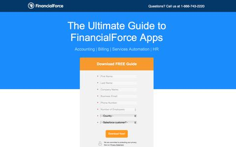 Screenshot of Landing Page financialforce.com - The Ultimate Guide to FinancialForce Apps - captured Sept. 28, 2016