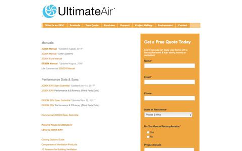 Screenshot of Support Page ultimateair.com - Library | UltimateAir - captured Oct. 31, 2018