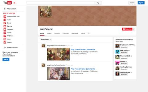 Screenshot of YouTube Page youtube.com - prayfuneral  - YouTube - captured Oct. 23, 2014