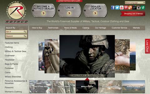 Screenshot of Home Page rothco.com - Rothco | Wholesale Military, Tactical, Outdoor Clothing and Gear - captured Jan. 11, 2016