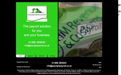 Screenshot of Home Page payrightpayroll.co.uk - Payright Payroll Ltd - The Payroll Solution for You and Your Business - captured Oct. 2, 2014