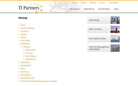 Screenshot of Site Map Page ti-partners.com - TI Partners | Site Map - captured Oct. 9, 2014