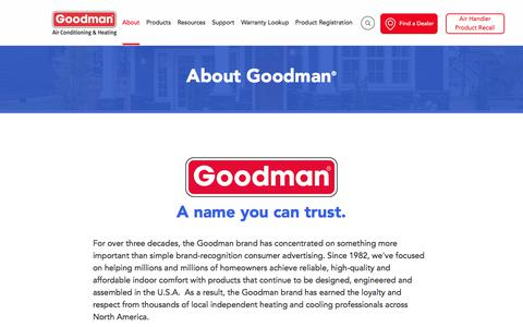 Screenshot of About Page goodmanmfg.com - Reliable Heating & Cooling Systems From Goodman Brand - captured Jan. 16, 2018
