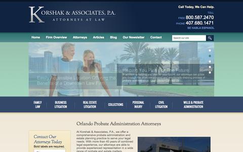 Screenshot of Home Page korshaklaw.com - Orlando Probate Administration Attorney   Orlando Wills Attorney - captured Oct. 6, 2014