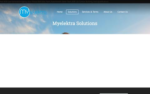 Screenshot of Pricing Page myelektra.com - Solutions - Your B2B Lead Generation Agency, Your Virtual B2B Sales Team - captured June 14, 2017