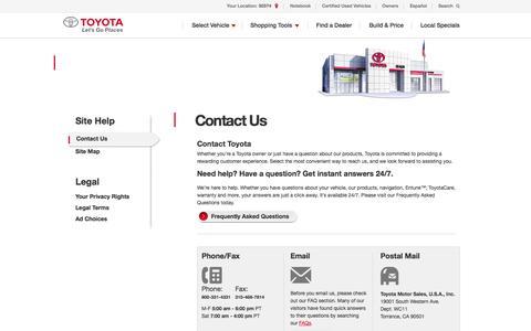 Screenshot of Contact Page toyota.com - Contact Us | Contact Toyota - captured Sept. 18, 2014