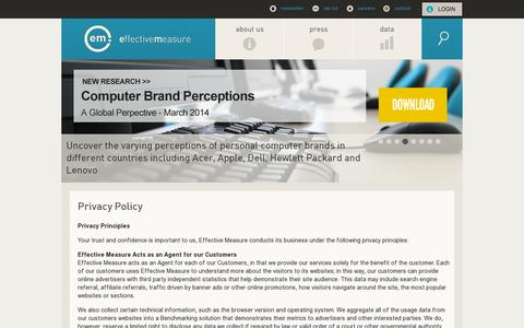 Screenshot of Privacy Page effectivemeasure.com - Privacy Policy - Effective Measure - captured July 19, 2014