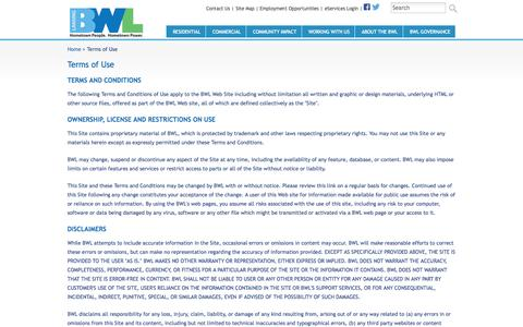 Screenshot of Terms Page lbwl.com - : Terms of Use - captured Oct. 2, 2014