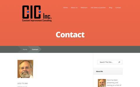 Screenshot of Contact Page constantimprovementinc.com - Contact Steve Elliott | Business Consulting | Longmont, Boulder, Denver, Colorado, Front Range, Boulder County - captured Oct. 3, 2014