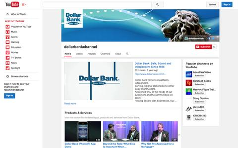 Screenshot of YouTube Page youtube.com - dollarbankchannel  - YouTube - captured Oct. 23, 2014