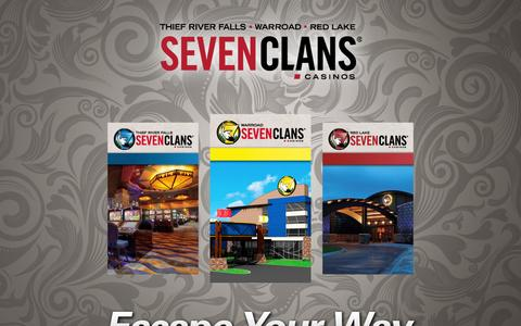 Screenshot of Home Page sevenclanscasino.com - Seven Clans Casinos | Escape Your Way at Northern Minnesota's Gaming Destination! - captured Oct. 7, 2014