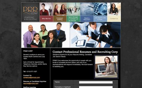 Screenshot of Contact Page prrcorp.com - PRR Corp, Staffing Agency, Employment Direct Hire, Resume Services - captured Dec. 6, 2015
