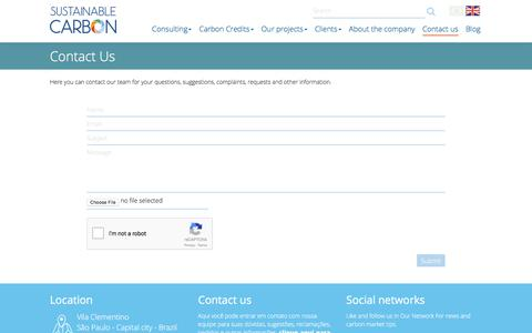 Screenshot of Contact Page sustainablecarbon.com - Contact Us - Sustainable Carbon - captured June 19, 2017