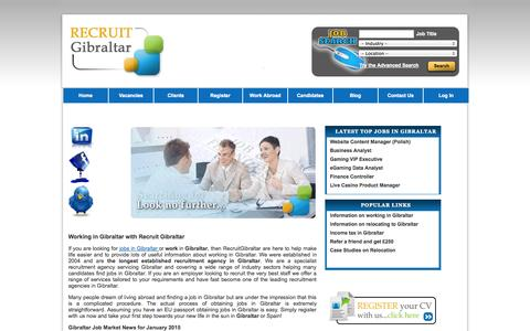 Screenshot of Home Page recruitgibraltar.com - Finding work in Gibraltar | Jobs in Gibraltar | Working in Gibraltar - captured Jan. 31, 2015