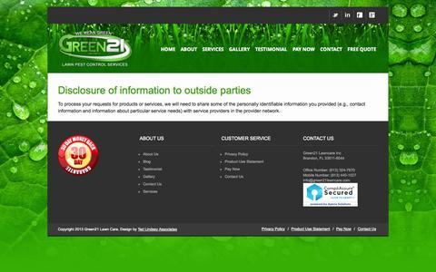 Screenshot of Privacy Page green21lawn.com - Privacy Policy - Green 21 Lawn Pest Control Services - captured Oct. 3, 2014