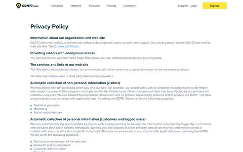 Screenshot of Privacy Page cdn77.com - Privacy Policy | CDN77.com - captured June 29, 2018