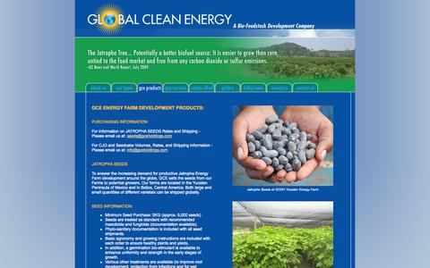 Screenshot of Products Page gceholdings.com - Global Clean Energy - Products - captured Oct. 2, 2014