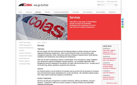 Screenshot of Services Page colas.co.uk - Colas - Services - captured Oct. 3, 2014