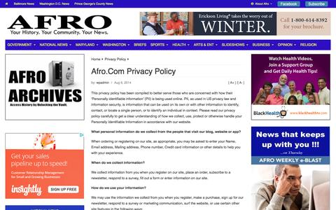 Screenshot of Privacy Page afro.com - Afro.Com Privacy Policy | Afro - captured Jan. 19, 2016