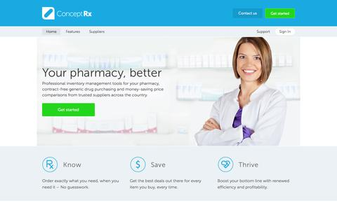 Screenshot of Home Page conceptrx.com - ConceptRx: Purchase Generic Drugs, Compare Prices, Save - captured Sept. 30, 2014