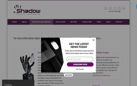 Screenshot of Products Page shadowrobot.com - Products – Shadow Robot Company - captured Aug. 12, 2019