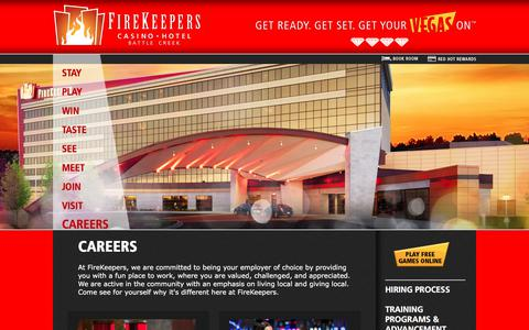 Screenshot of Jobs Page firekeeperscasino.com - Careers  | FireKeepers Casino Hotel - captured Oct. 13, 2017