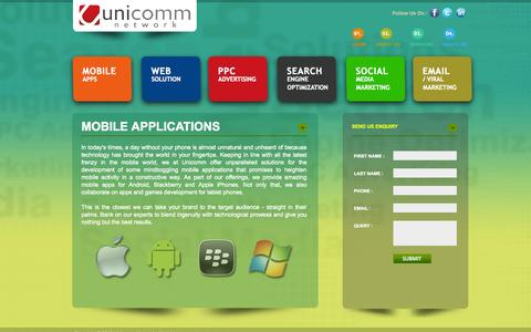 Screenshot of Services Page uni-comm.in - Affordable Mobile Application Services India - captured Oct. 9, 2014