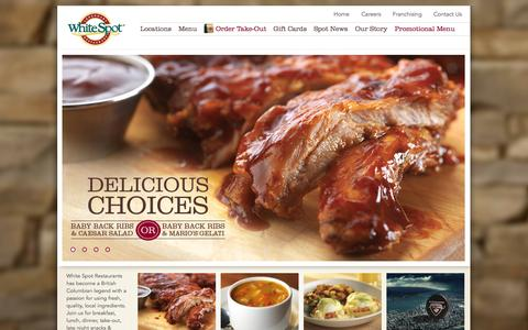 Screenshot of Home Page whitespot.ca - Family Restaurants  | White Spot - captured Sept. 19, 2014