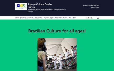 Screenshot of About Page sambatrovao.com - About | Espaço Cultural Samba Trovão - captured July 10, 2018